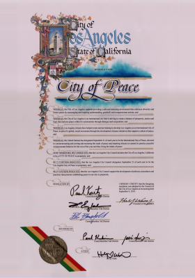 The Los Angeles International City of Peace Resolution adopted September 9, 2014